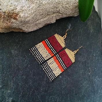 Unique Native American Beaded Stripe Minimalist Everyday Earrings White Gold Silver Black Cranberry Orange Glass Seed Bead Mothers Day Gift