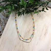 Colorful Beaded Layered Necklace