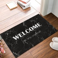 Autumn Fall welcome door mat doormat White Welcome On Black Marble Texture Decorative Pattern s Kitchen Floor Bath Entrance Rug Mat Indoor Bathroom Decor AT_76_7