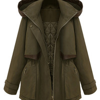 ROMWE | Romwe Panel Faux Leather Trims Hooded Army-green Coat, The Latest Street Fashion