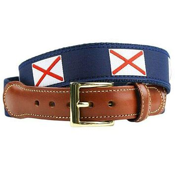 Alabama Flag Leather Tab Belt in Navy on Navy Canvas by Country Club Prep