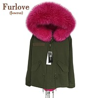 2016 New Women Winter Army Green Jacket Coats Thick Parkas Plus Size Real Raccoon Fur Collar Hooded Outwear 5 Day Delivery time