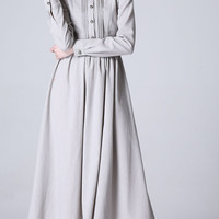 Light grey linen dress long women dress (1178)
