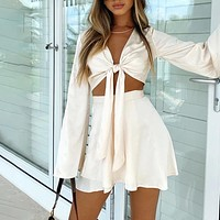 New sexy ladies lace-up style long-sleeved short skirt suit