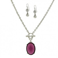 Silver-Tone Earrings & Purple Crystal Necklace Boxed Set