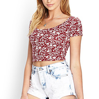 FOREVER 21 Floral Print Crop Top Wine/Cream