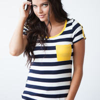 Wooden Button Detail Striped Pocket Tee - Navy/White/Mustard