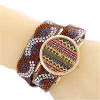 Girls Bohemian Style Crystal Leather Strap Watches Fashion Women Casual Sports Watch Best Christmas Gift