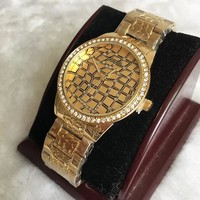 GUESS Fashion new diamond round edge and dial texture diamond watch men Golden