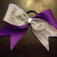 Purple & Silver Cheer Bow by OhSoCr8tive on Etsy