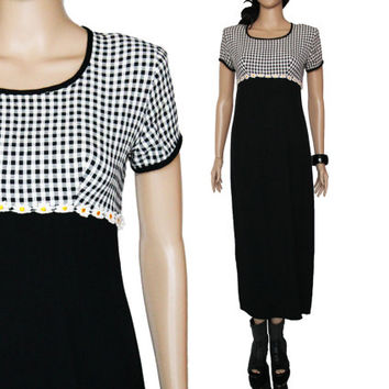 90s Plaid and Daisy High Waist Slim Fitted Dress Black and White Maxi Boho Grunge Clothing Womens Size Small