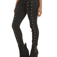 Royal Bones Lace Up Skinny Jeans   Hot Topic