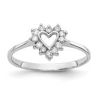14k White Gold Polished .17ct. Real Diamond Heart Ring Mounting