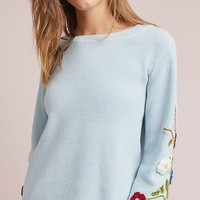 Embroidered Pansies Pullover