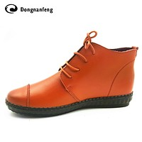 Oxford Flats Ankle Women's Boots Shoes Woman Female Fashion Lace Up Genuine Leather Rubber Soles Superstar Casual Beand DNF-953