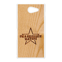 Carved on Wood Effect_Celebrity Hater White Hard Plastic Case for Sony M2 by Chargrilled