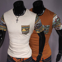 Crew Neck Tee with Butterfly Print on Sleeves and Pocket
