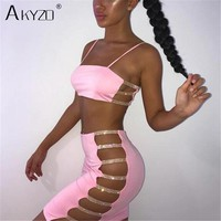AKYZO Sexy Bodycon Summer Mini Dress Pink Black Spaghetti Strap Rhinestone Bandage Party Casual Basic Short Dress