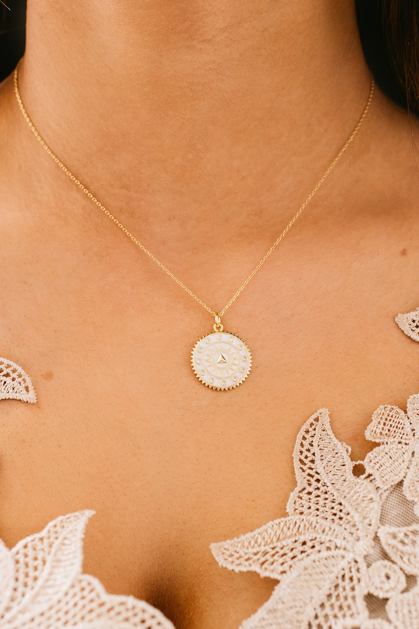 Image of Major Day Charm Necklace (White)