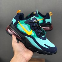Nike Air Max 270 React Green Navy KPU Drop Plastic Upper Running Shoes - Best Deal Online