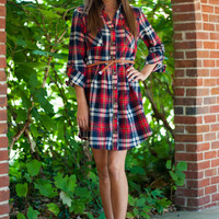 Field Party Dress, Red/Navy