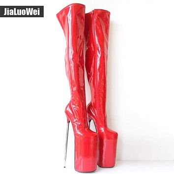 jialuowei New Arrive  30CM Super High Metal Heels Sexy Fetish Platform Pu Leather Zip Over-the-Knee Thigh High Boots Plus Size Macchar Cosplay Catalogue