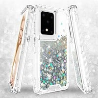 Samsung Galaxy S20 Ultra Case,Hard Clear Glitter Sparkle Flowing Liquid Heavy Duty Shockproof Three Layer Protective Bling Girls Women Cases for Samsung Galaxy S20 Ultra - Clear