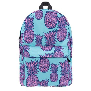 Bright Pineapple Backpack in Aqua and Pink