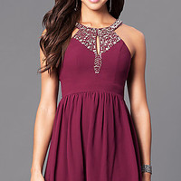 Short Semi-Formal Party Dress with Beaded Bodice