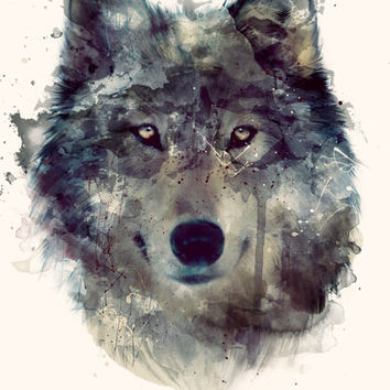Wolf // Persevere  Art Print by Amy Hamilton   Society6