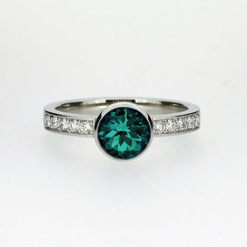 1.51ct Teal tourmaline solitaire engagement ring made from white gold, unique, milgrain, vintage style, engagement, teal, green tourmaline