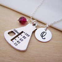 Chemistry Beaker Personalized Sterling Silver Necklace