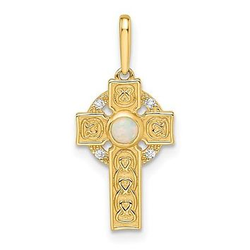 14k Gold Petite Cross with Created Opal and CZ Pendant