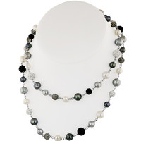 """Honora Sterling Silver 36 Inch """"Pop Star"""" Necklace with Black, White and Gray Round Ringed Freshwater Cultured Pearls and Pave Crystal Beads"""
