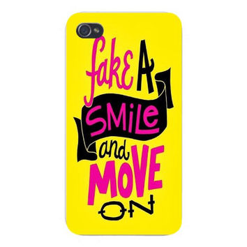 Apple Iphone Custom Case 4 4s Snap on - 'Fake a Smile and Move On' Text on Yellow