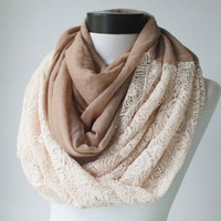 brown-ivory lace scarf,infinity scarf, scarf, scarves, long scarf, loop scarf, gift