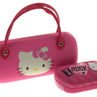 Lot of 2 Hello Kitty Sunglasses & Contact Lens Hard Case Pink Eyeglass Reading