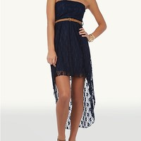Belted Lace Tube High Low Dress