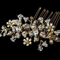 Opentip.com: Elegance by Carbonneau Comb-8005-G-Clear Gold Floral Swarovski Crystal Bridal Hair Comb 8005