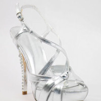 "Silver Prom shoes with 5"" heels and 1.25"" platform (Style 500-9)"
