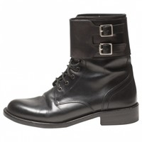 Black leather ankle boots SAINT LAURENT Black