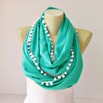 Extra long  infinity scarf with pompom trim  circle by SenasShop