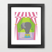 Circus Elephant in the Spotlight under the Big Top Framed Art Print by Shalece Elynne