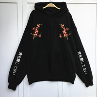 Autumn and winter taka Korean fashion college wind hooded plum Japanese embroidery big pockets fleece thick loose Sweatshirts