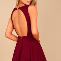 Gal About Town Burgundy Skater Dress