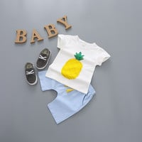 Girls clothes summer 2016 new arrival baby boys summer sets top pineapple short sleeve t shirt +solid shorts 2-7T kids short set