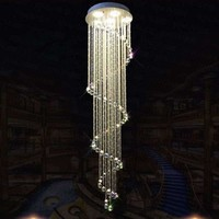 LED modern duplex stair Chandelier. Villa hall hanging Crystal Chandelier