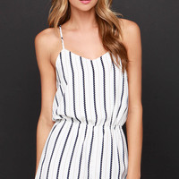 Jump Rope Navy and Ivory Striped Romper
