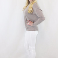 Sheer Long Sleeve Knit Top, Taupe