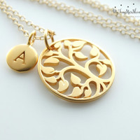 24k Gold Tree of Life Pendant Personalized Necklace Family tree necklace Personalized Family tree of life jewelry Mother Daughter Jewelry